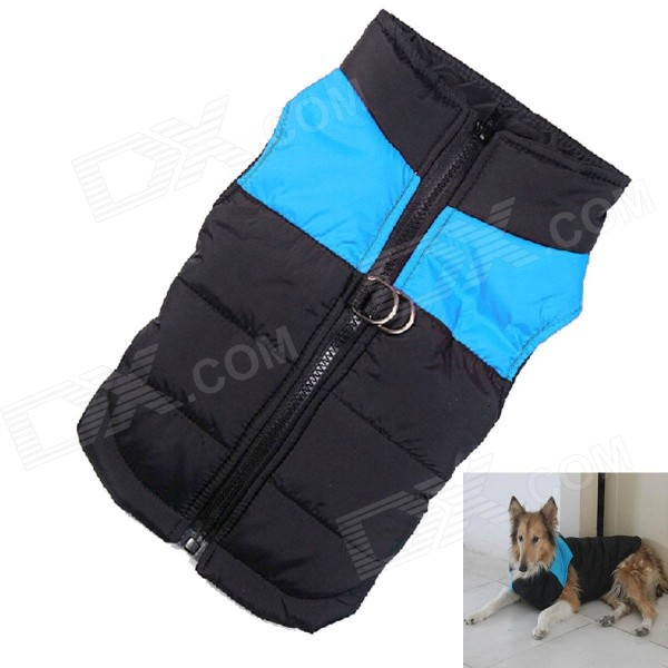 Water-resistant Quilted Padded Warm Winter Coat Jacket for Large Pet Dog - Black + Blue (L-XS) comfortable lint water resistant cloth fiberfill pet kennel house for cat dog blue