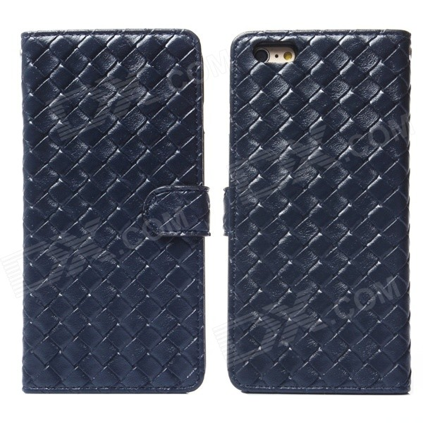 Stylish Woven Texture 2-in-1 PU Leather Case w/ Holder for IPHONE 6 Plus 5.5 - Deep Blue mercury goospery blue moon magnetic leather case for iphone 6s plus 6 plus dark blue