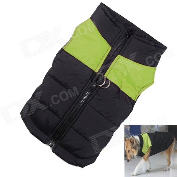 Water-resistant Quilted Padded Warm Winter Coat Jacket for Large Pet Dog - Black + Green (L-L) Omaha Продажа б у товаров