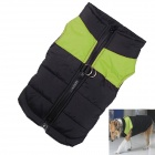 Water-resistant Quilted Padded Warm Winter Coat Jacket for Large Pet Dog - Black + Green (L-L)