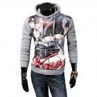 Men's Fashionable Retro Printing Pattern Hooded Sweater - Grey + Multicolor (XXL)