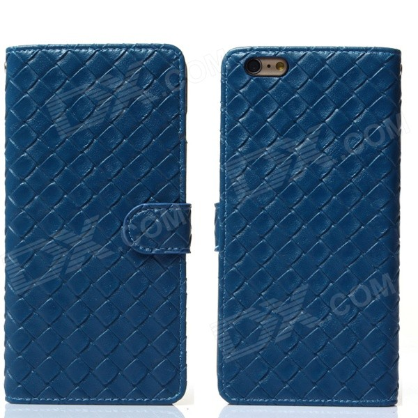 Stylish Woven Texture 2-in-1 PU Leather Case w/ Holder for IPHONE 6 Plus 5.5 - Blue mercury goospery blue moon magnetic leather case for iphone 6s plus 6 plus dark blue