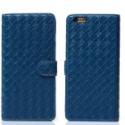 """Stylish Woven Texture 2-in-1 PU Leather Case w/ Holder for IPHONE 6 Plus 5.5"""" - Blue"""