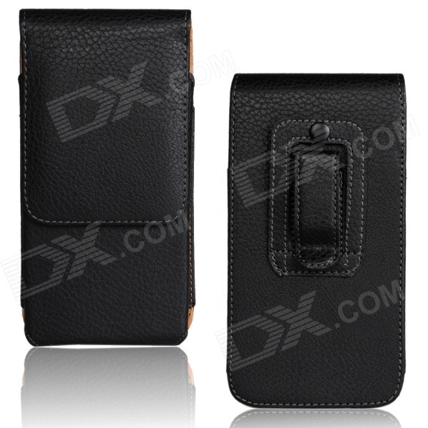 "Lichee Pattern Protective PU Leather Case w/ Belt Clip for IPHONE 6 PLUS 5.5"" - Black"