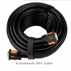 Yellow Knife YK149  DVI-D 24+1pin HD DVI Cable w/ Golden-Plated Connector - Brown + Black (20m)