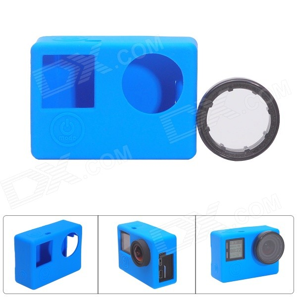 Fat Cat CS-4 Protective Silicone Shell Case w/ UV Filter for GoPro Hero 4 / 3+ /3 - Blue + Black