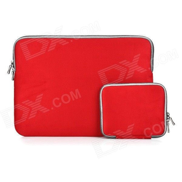 "Protective Sleeve Bag + Small Accessory Bag Set for 13.3"" MacBook Air Pro Retina - Red + Grey"