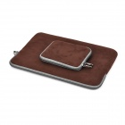"Protective Faux Suede Sleeve Bag + Small Accessory Bag Set for 13.3"" MacBook Air Pro Retina - Coffee"