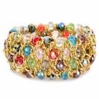J-1118 Stylish Women's Elastic Zinc Alloy + Crystals Bracelet - Multicolored + Golden