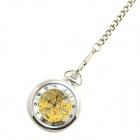 W16 Retro Zinc Alloy Mechanical Analog Pointer Pocket Watch - Silver