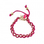 BR-3764 Women's Fashionable Knitted Chain Hollow-out Bracelet - Deep Pink + Gold