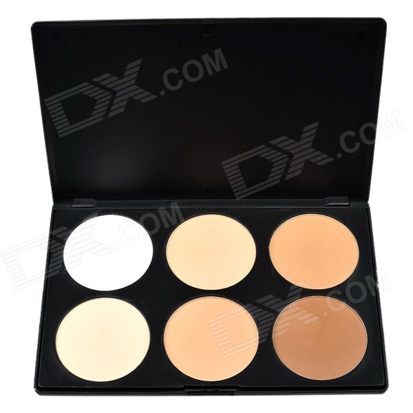 HANSHA P6-1# 6-Color Professional Cosmetic Makeup Pressed Powder - White + Brown + Multicolored