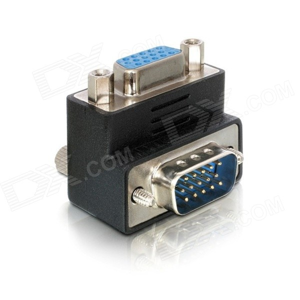90 Degree Right Angled VGA / SVGA Male to Female Adapter - Black