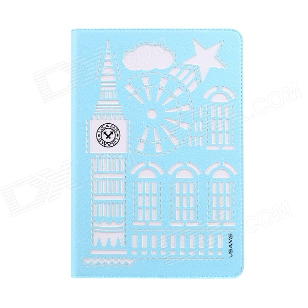 USAMS Hollow-Out Protective TPU + PU Case w/ Stand / Auto Sleep for IPAD AIR 2 - Light Blue riggs r hollow city