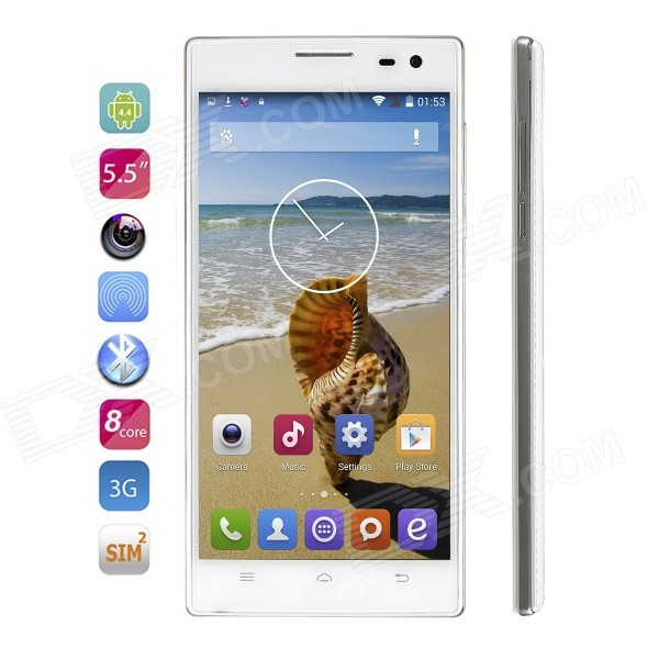 VOTO X6HD Android 4.4 Octa-Core WCDMA Phone w/ 5.5 IPS, 8GB ROM, GPS, WiFi, BT, FM - White gps навигатор lexand sa5 hd