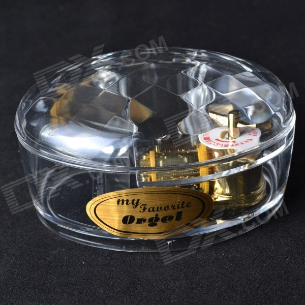 MG-90 Transparent Acrylic Oval Music Box for Gift - Transparent + Golden