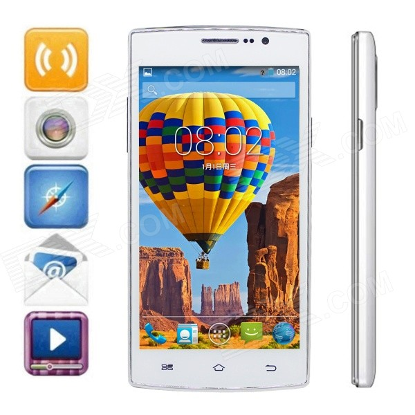 FineSource P1 Android 4.4.2 WCDMA Smart Phone w/ 5 Screen, 4GB ROM, GPS, FM, Wi-Fi - White ultra thin 7 touch screen lcd wince 6 0 gps navigator w fm internal 4gb america map light blue
