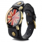 D2-6 Fashion Casual Style UK Flag Pattern PU Band Analog Quartz Wrist Watch (1 x 626)