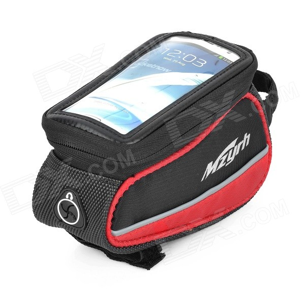 MZYRH XS-A1 Waterproof Anti-impact Bike Frame Bag for 4.8 Touch Screen Cellphone - Red + Black