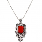 Retro Hollow-out Artificial Ruby Pendant Necklace - Antique Silver + Red