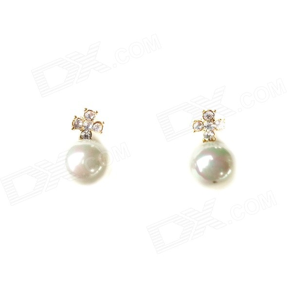 E043 Women's Fashionable Cross Rhinestone-studded Pearl Earrings - White + Silver (Pair)