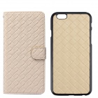 Stylish Woven Texture Flip-open PU Leather Case w/ Card Slot for IPHONE - Light Yellow