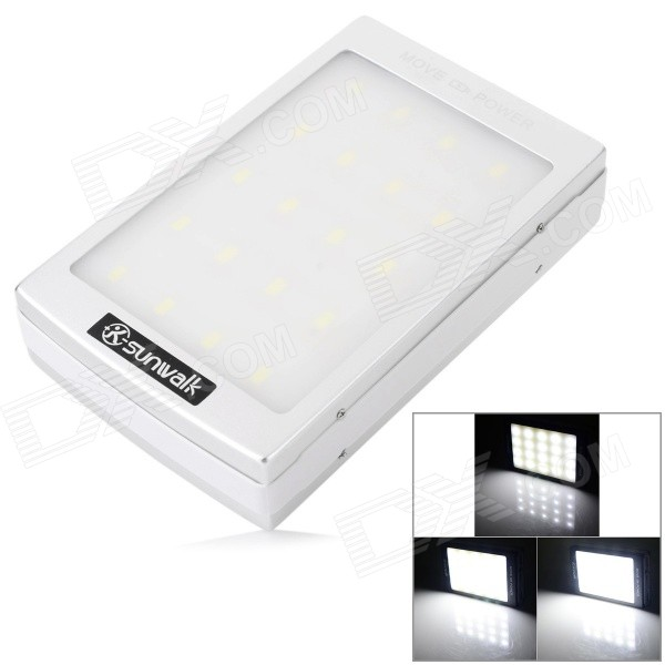 SUNWALK Outdoor Camping 0.8W 5V 10000mAh Solar Powered Power Bank w/ 4-Mode LED - Silver