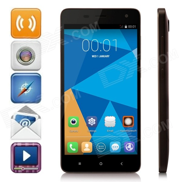 DOOGEE HITMAN DG850 Android 4.4 Quad-Core WCDMA Bar Phone w/ 5.0 IPS, 16GB ROM, GPS - Black