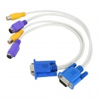 VGA to AV / S-Video TV Cables - White + Blue (30CM / 2 PCS)