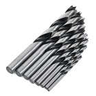 High-Carbon Steel Round Shank Woodworking Lip & Spur Drill Bit Set - Silver + Black