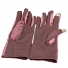 Women's Fashion Pleuche Warm Screen Touch Gloves w/ Bowknot - Purplish Red (Pair)