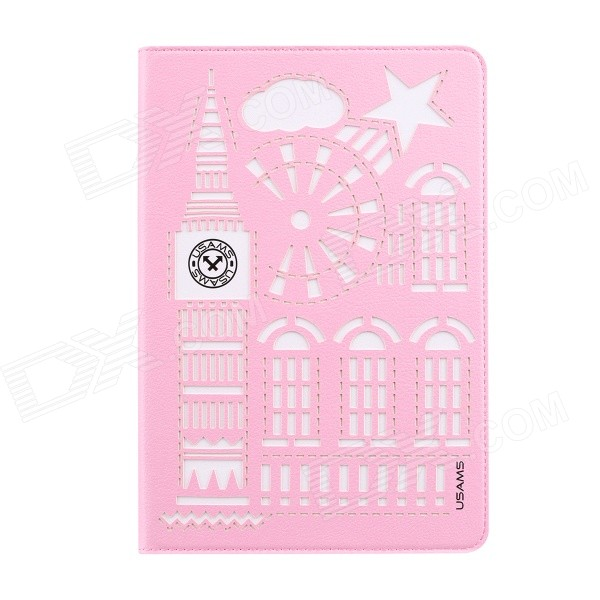USAMS IPA2DS04 Hollow-Out Protective TPU + PU Case w/ Stand / Auto Sleep for IPAD AIR 2 - Pink riggs r hollow city
