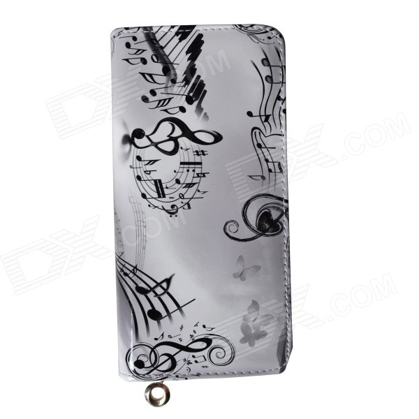 MG-93 Women's Music Symbols Pattern Fashionable PU Leather Wallet - White + Black