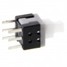 Double Line 5.8 x 5.8mm 6Pin Self-Locking Button Switches - White + Black  (20 PCS)