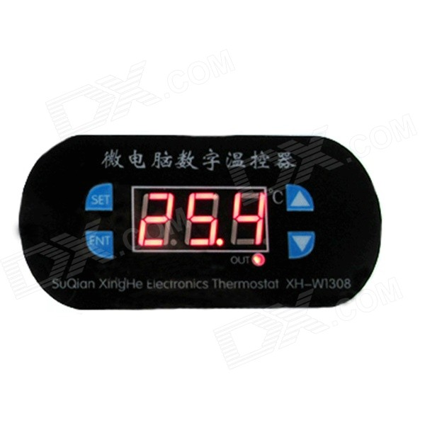 "XGHF 0.56"" Screen Digital Thermostat w/ Red Backlight - Black (12V)"