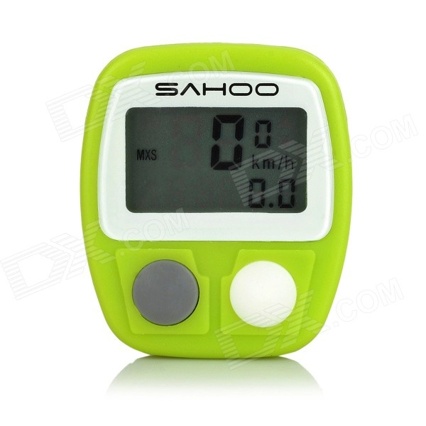 SAHOO Water Resistant 1.3 LCD 14-Function Wired Bicycle Stopwatch - Green (1 x LR44)