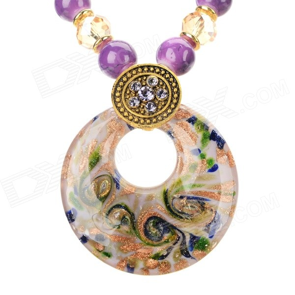 PS006 Fashion Azure Stone + Glass + Alloy Pendant Necklace - Purple + Golden