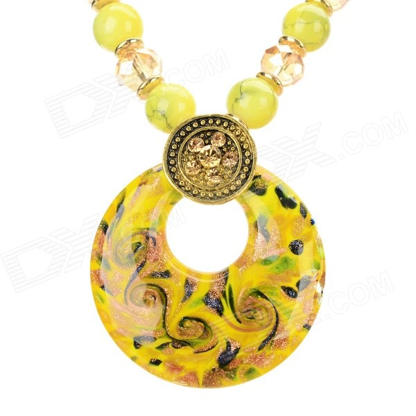 Ethnic Fashion Azure Stone + Glass + Alloy + Resin Pendant Necklace - Yellow + Golden