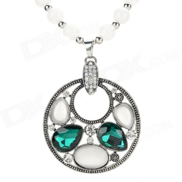 Round Style Azure Stone + Glass + Alloy Pendant Necklace - Black + White