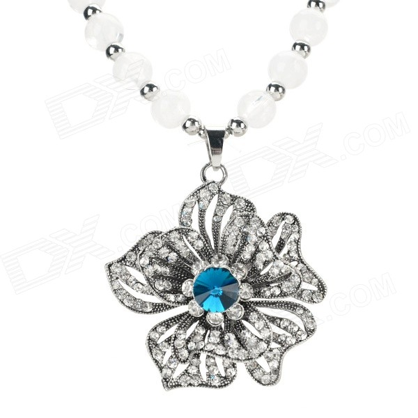 Fashion Flower Style Azure Stone + Glass + Resin Pendant Necklace - Black + Silver