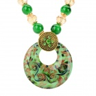 PS006 Fashion Azure Stone + Glass + Alloy Pendant Necklace - Green
