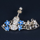 MG-35 Romantic Elegant Rhinestone Inlaid Flower + Guitar Style Brooch - Sapphire Blue + Golden
