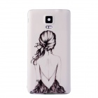 Girl Pattern Plastic Battery Back Cover Case for Samsung Galaxy Note 4 - White+Black