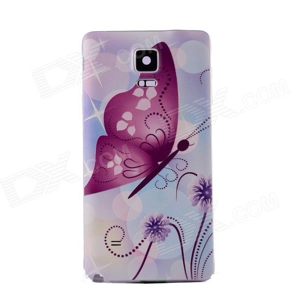 Butterfly Pattern Plastic Battery Back Cover Case for Samsung Galaxy Note 4 - Purple + Multi-Color