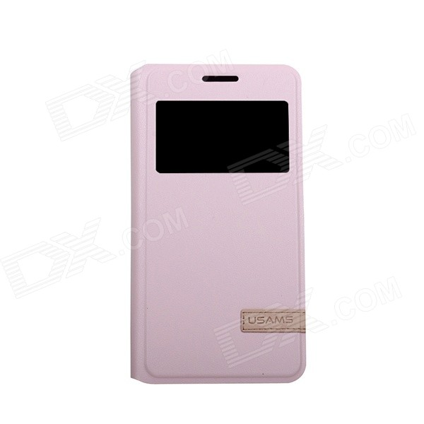 USAMS Protective PU + PC Flip Open Case w/ Stand / Auto Sleep for Samsung Galaxy A3000 - Pink protective flip open pu case w stand card slots for samsung galaxy s4 active i9295 black