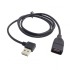CY 90 Degree Angled USB 2.0 Male to Female Extension Cable - Black