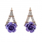 Women's Fashion Eiffel Tower + Flower Rhinestone Inlaid Earrings - Purple + Golden (Pair)