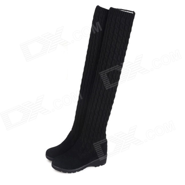Women's Fashion Warm PU + Wool Over-the-Knee Boots / Shoes - Black (37)