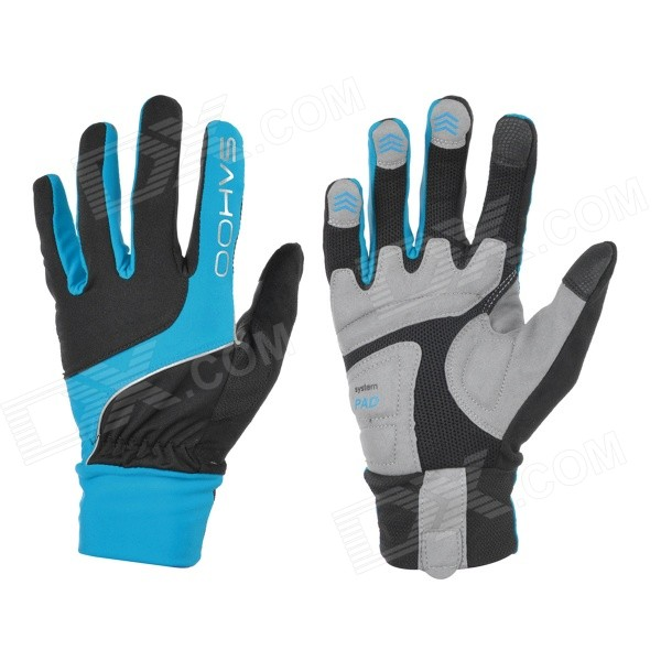 цена на SAHOO 42890 Unisex Cycling Anti-Skid Full Fingers Touch Screen Gloves - Black + Blue (XXL / Pair)