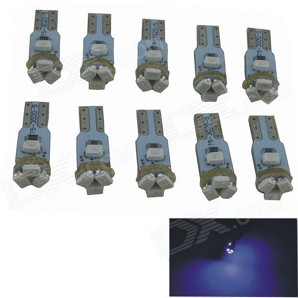 T5 0.5W 5-SMD 3020 LED Car Blue Light Bulbs - Silver + Grey (12V / 10PCS)